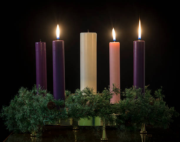 Advent candles for the holidays stok fotoğrafı