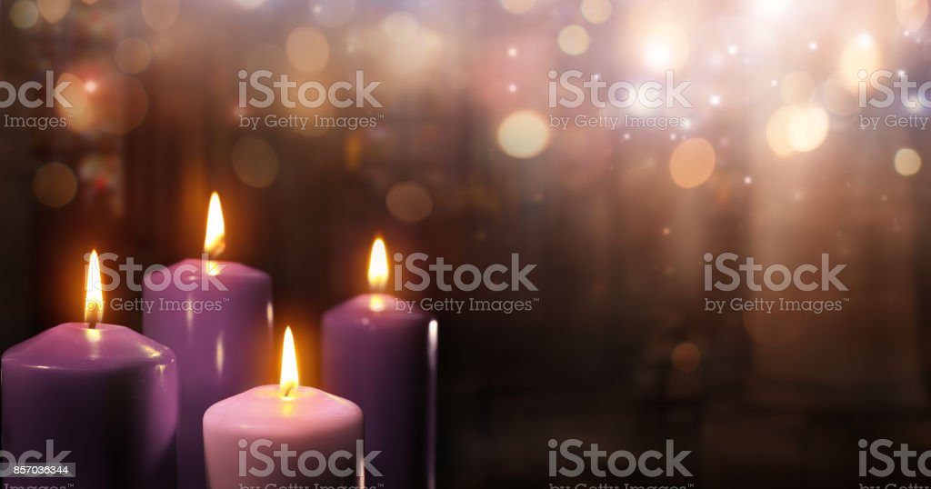 Advent Candles In Church stock photo