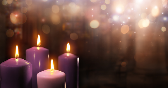 Advent Candles In Church Stock Photo - Download Image Now