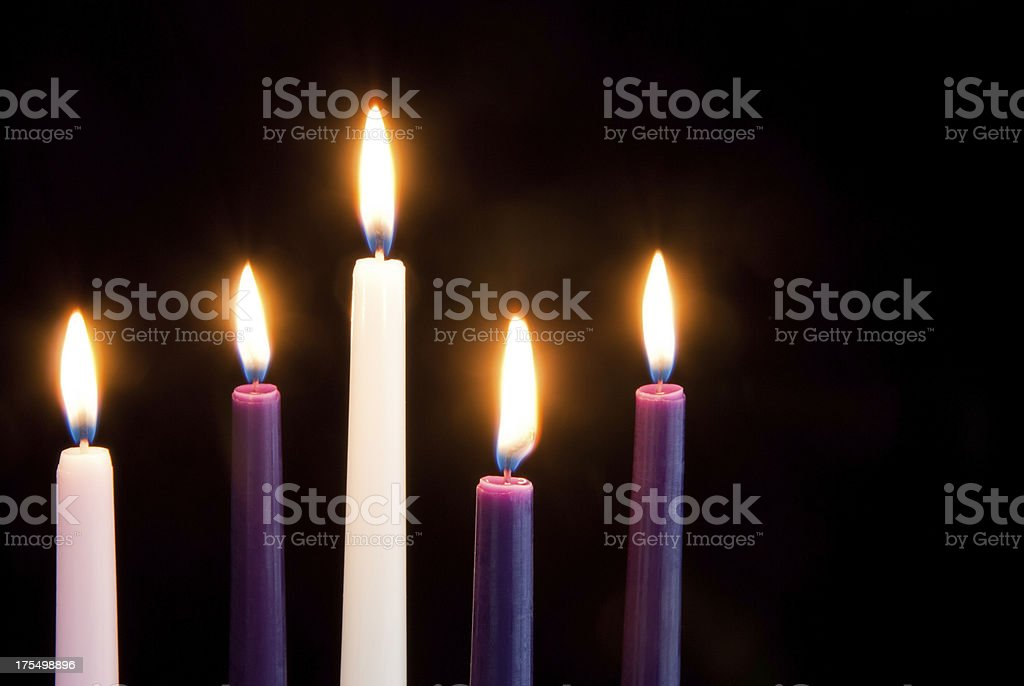 Advent Candles on Black royalty-free stock photo