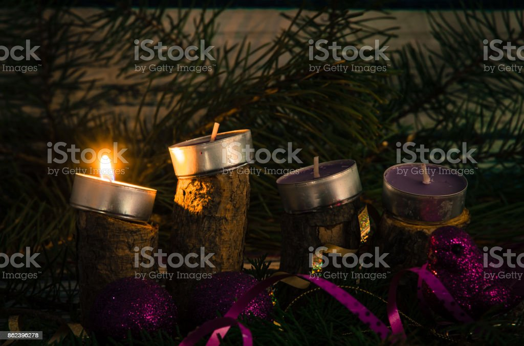 advent candles one from four advent candles burning Advent Stock Photo
