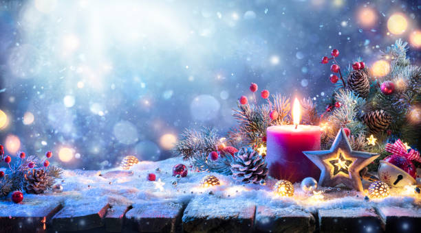 Advent - Christmas Decoration With Ornament And Fir Branches And Bokeh Lights stock photo