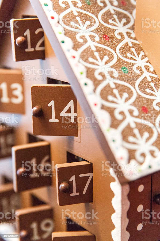 A vertical image shows a close up of a take on an Advent countdown...