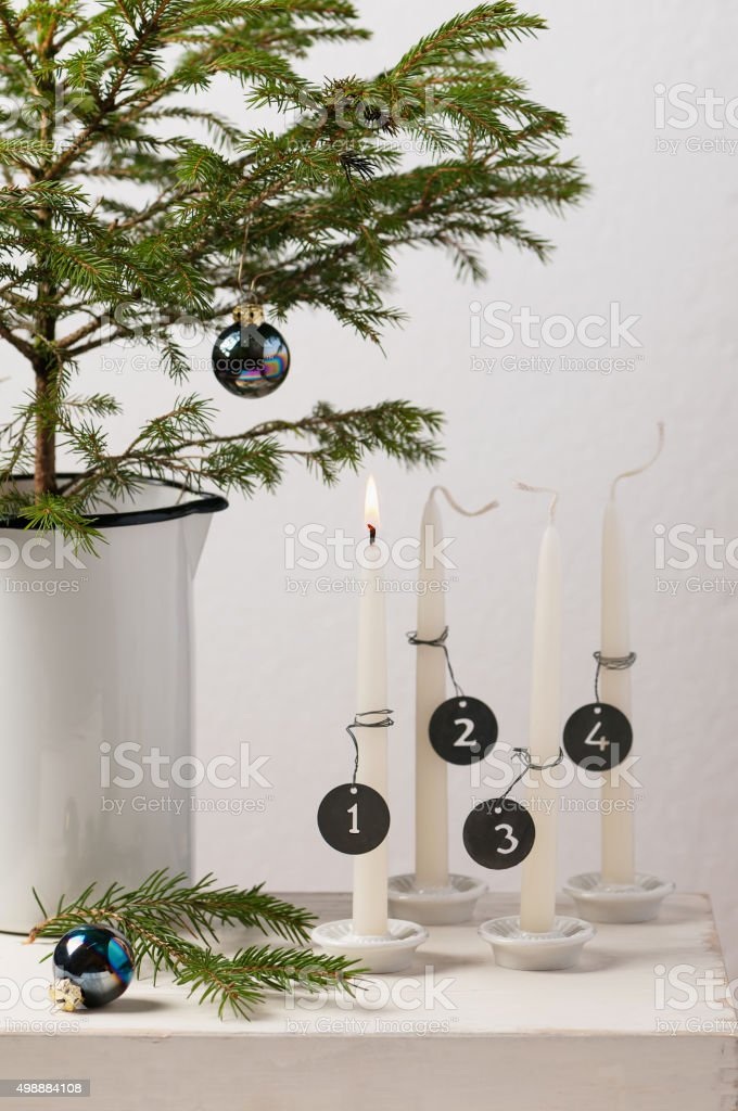 1. Advent. Cristmas decorations with advent candles. stock photo