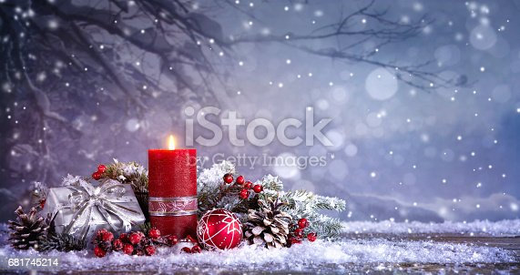istock Advent decoration with one burning candle 681745214