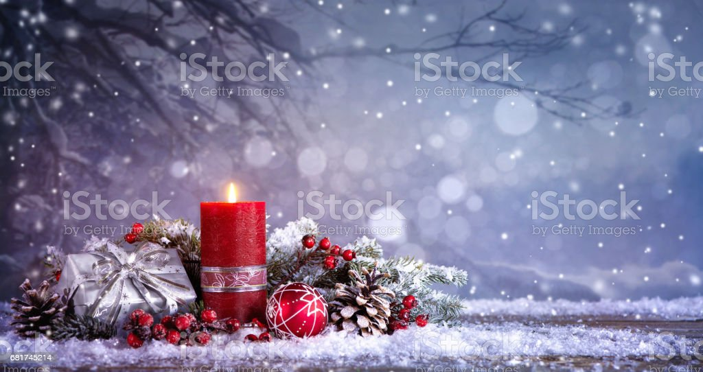 Advent decoration with one burning candle stock photo