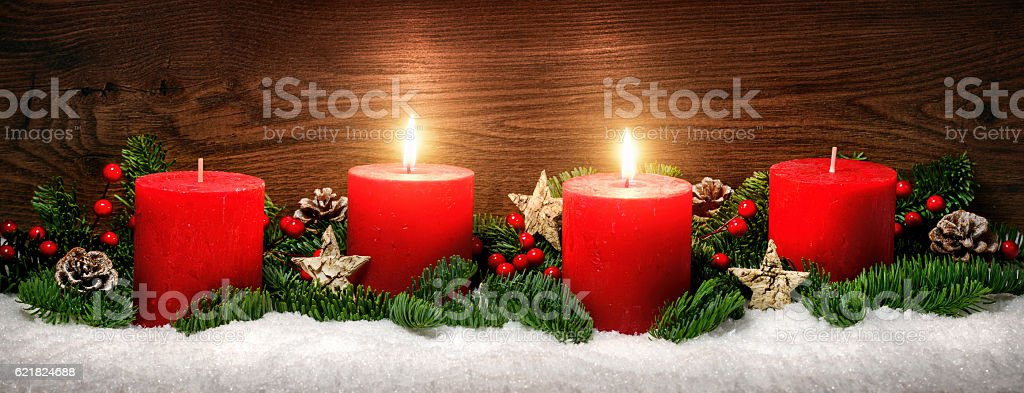 Advent decoration with two burning candles stock photo