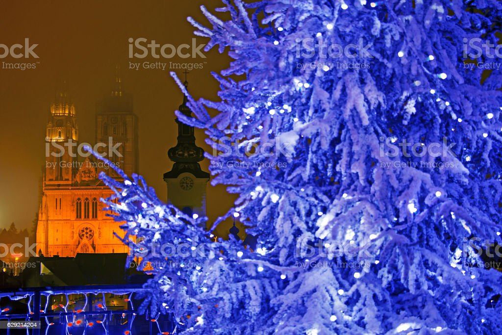Advent evening view on Gradec square in Zagreb stock photo