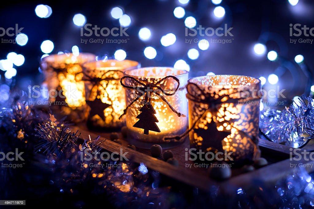 Advent, vier Kerzen dekoriert Lizenzfreies stock-foto