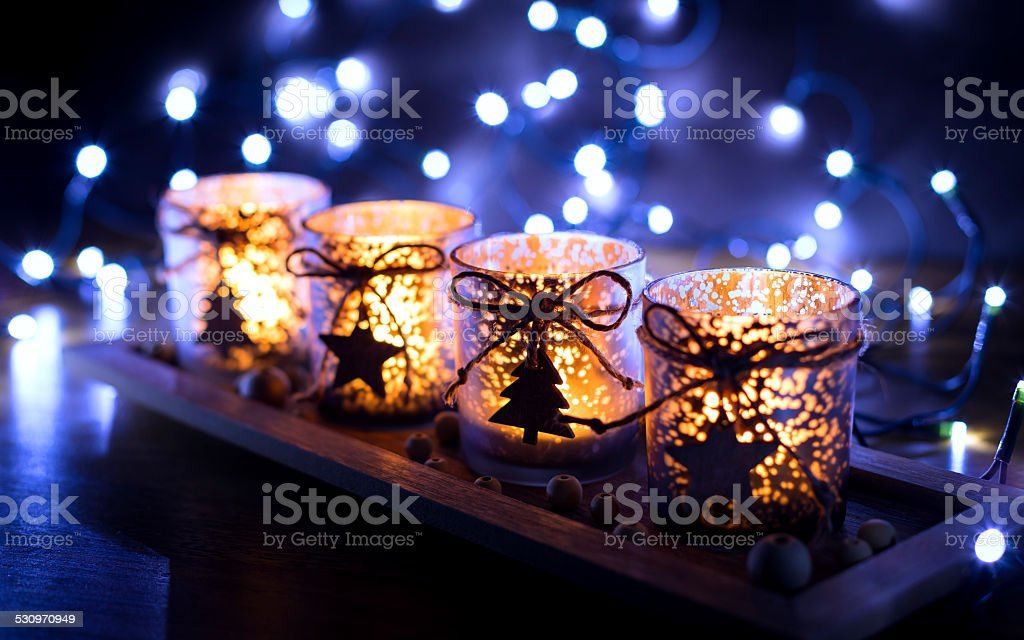 Advent, four candles decorated stock photo