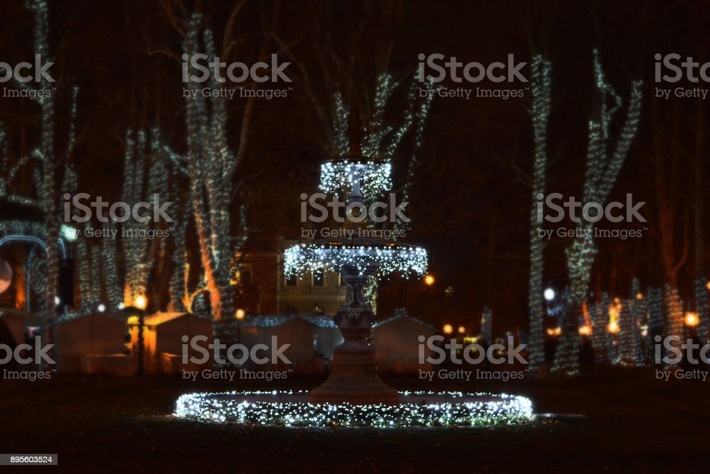 Advent in Zagreb, Croatia, Fountain at Zrinjevac park by night