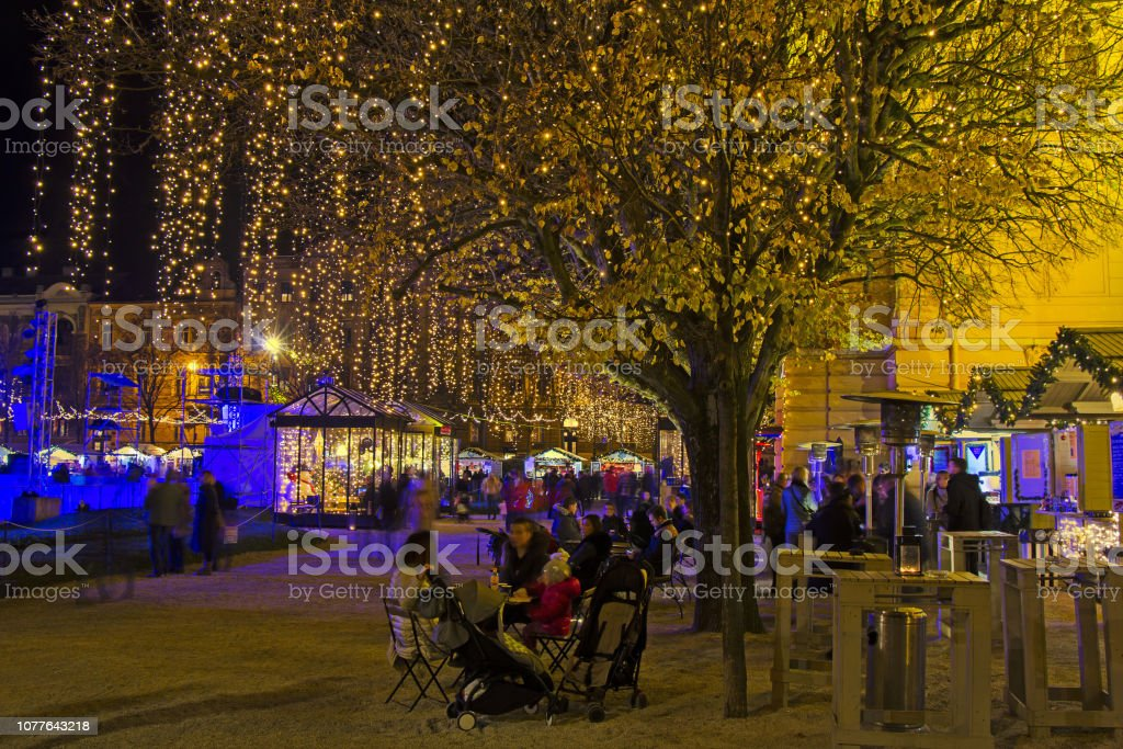 Advent in Zagreb - King Tomislav Square Night wiev at the time of...