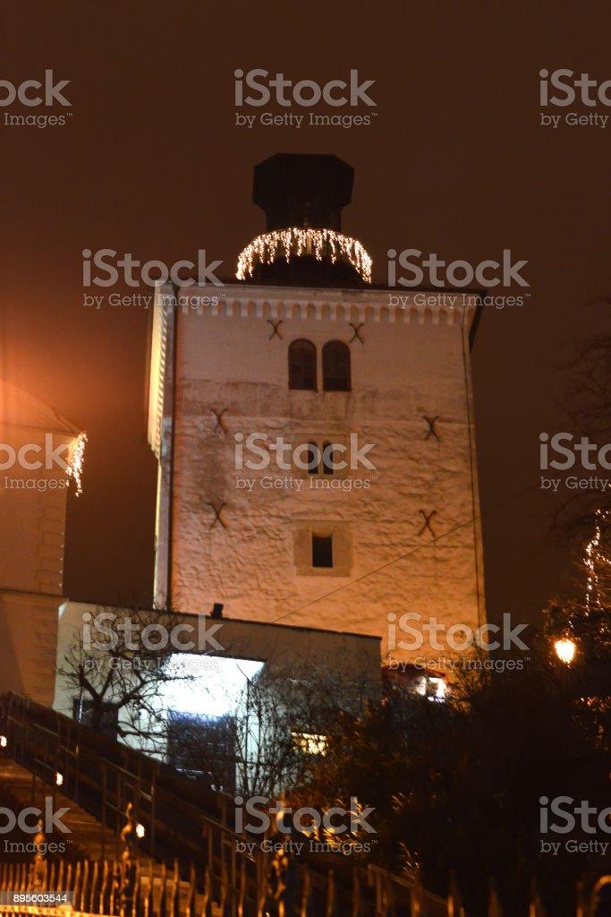 Advent in Zagreb, Lotrscak Tower, Zagreb, Croatia stock photo