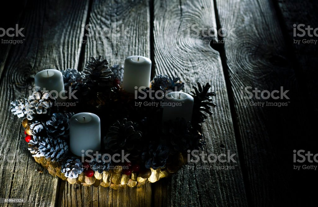 advent wreath without flame on candles