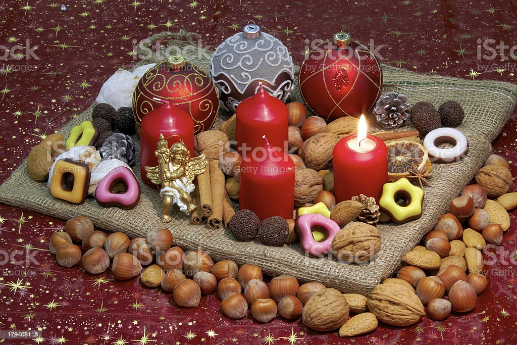 Advent wreath - 1st Candle lit royalty-free stock photo