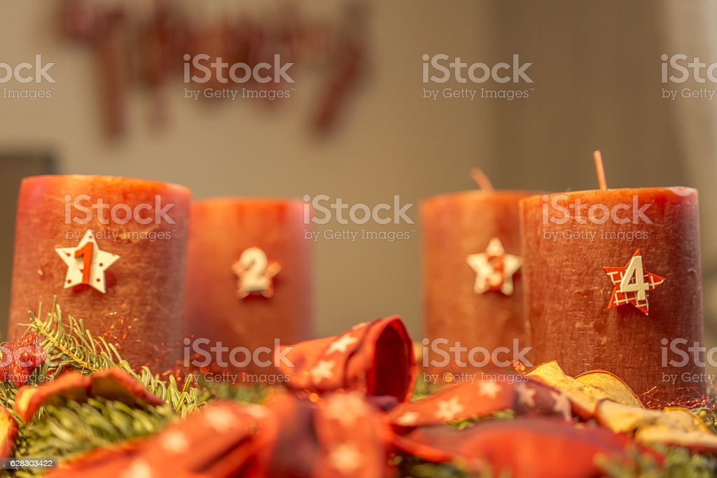 Advent wreath - first advent stock photo