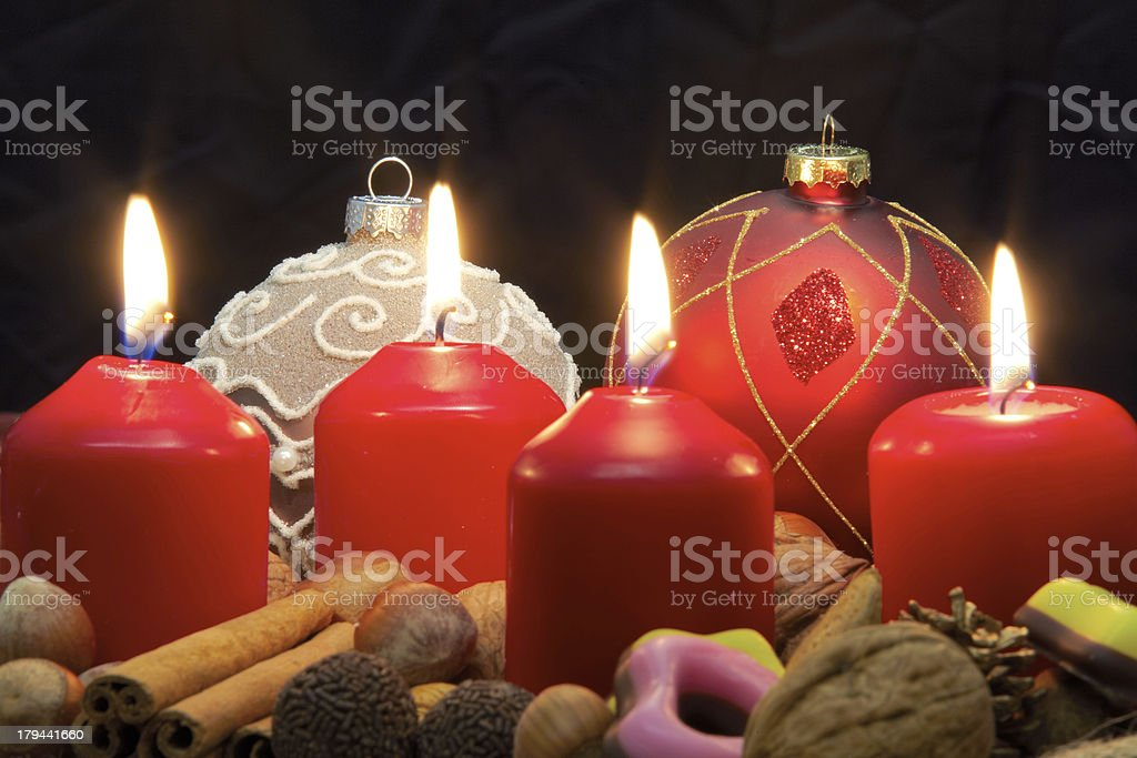Advent wreath - Four Candles lit royalty-free stock photo