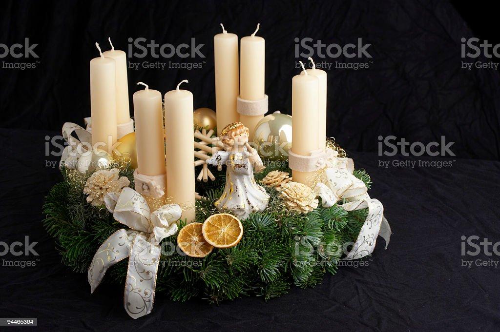 advent wreath on black cloth royalty-free stock photo