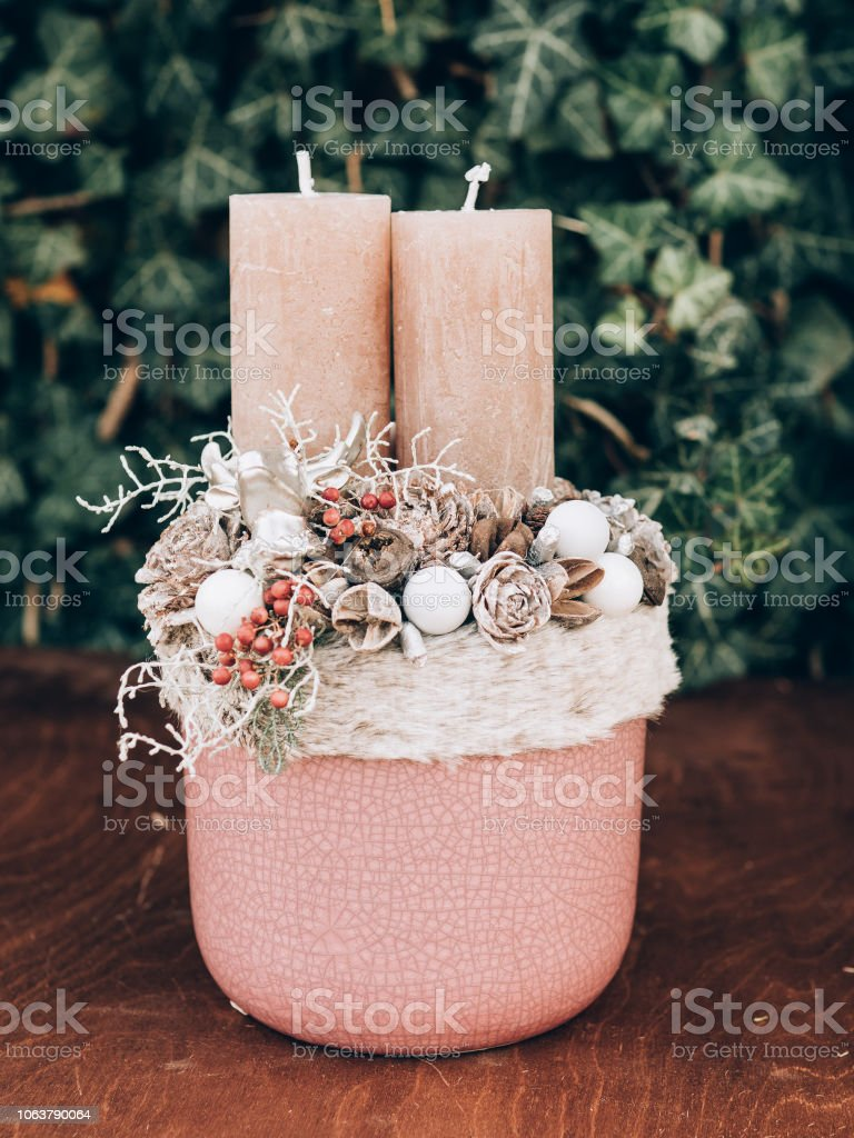 Advent wreath for the pre Christmas time. DIY Christmas decorations.