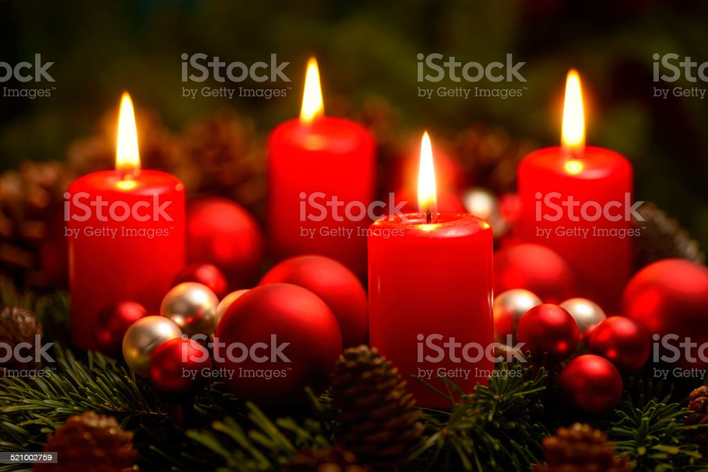 advent wreath with 4 burning candles stock photo. Black Bedroom Furniture Sets. Home Design Ideas