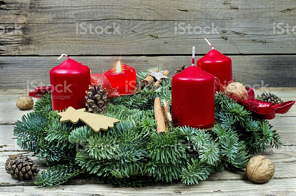 Advent wreath with burning candl stock photo