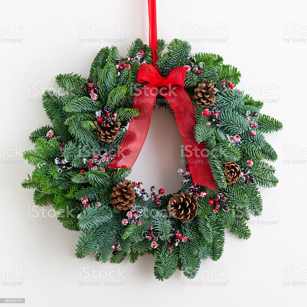 Advent wreath with red ribbon stock photo