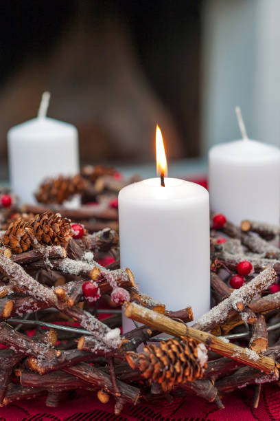 Advent wreath wth Christmas candles stock photo