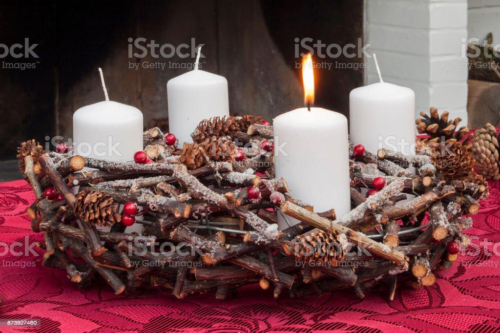 Advent Kranz Wth Weihnachtskerzen – Foto