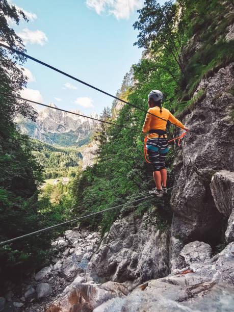 Adventure awaits, Ferrata Hvadnik, Mojstrana Slovenia stock photo