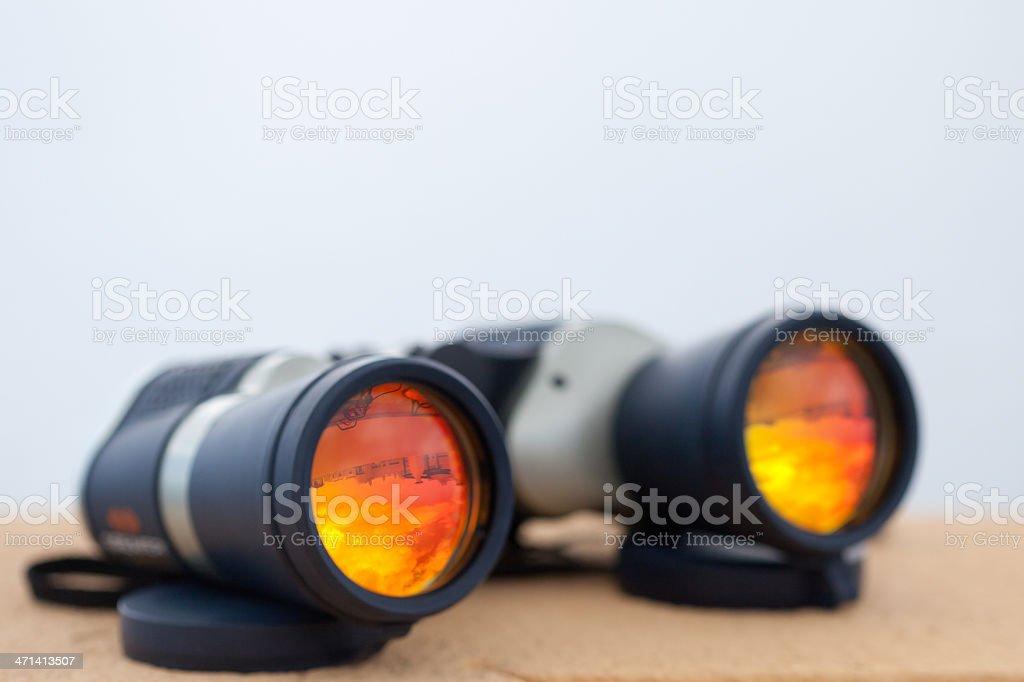 Adventure binoculars stock photo