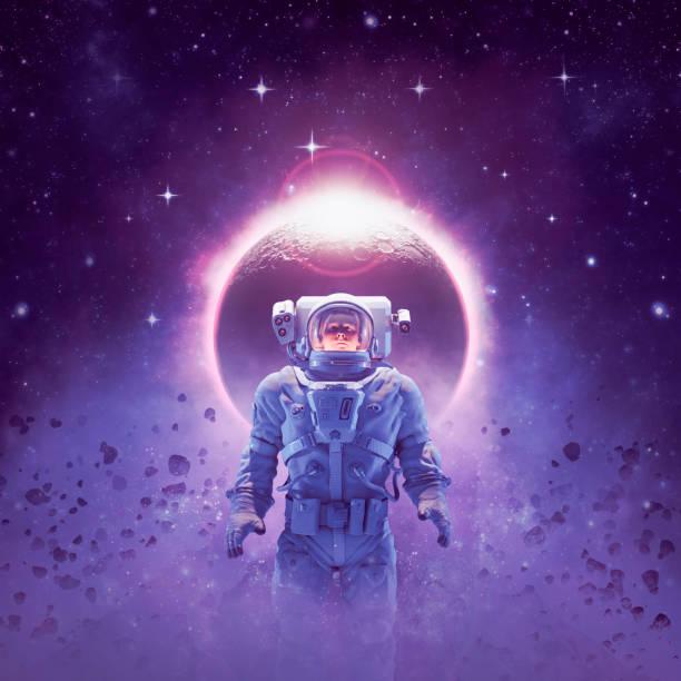 Adventure in deep space stock photo