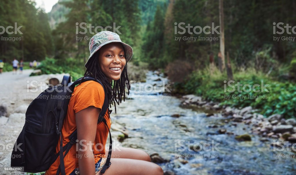 Adventure in her heart and natures got her soul stock photo