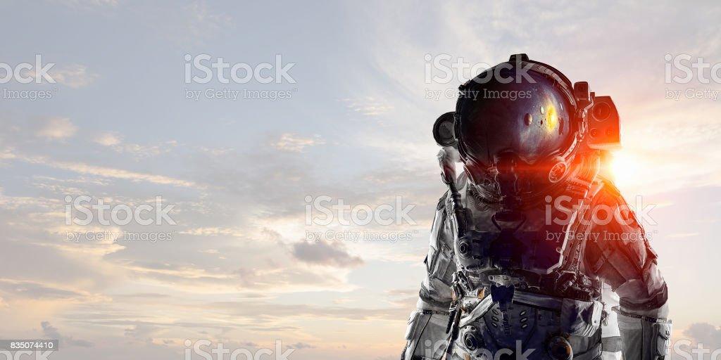 Adventure of spaceman. Mixed media . Mixed media stock photo