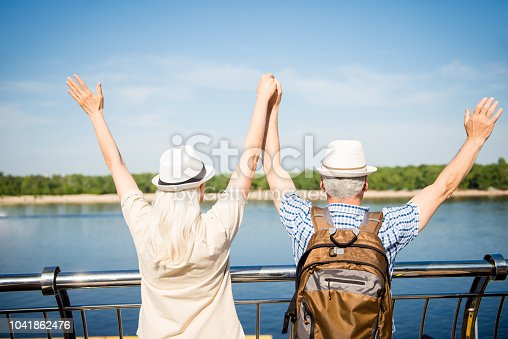 Adventure rest relax weekend holiday concept. Rear view portrait of active carefree spouses holding raised arms enjoying quay feeling free freedom