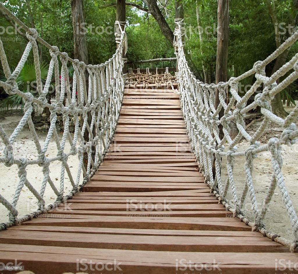 Adventure wooden rope jungle suspension bridge royalty-free stock photo