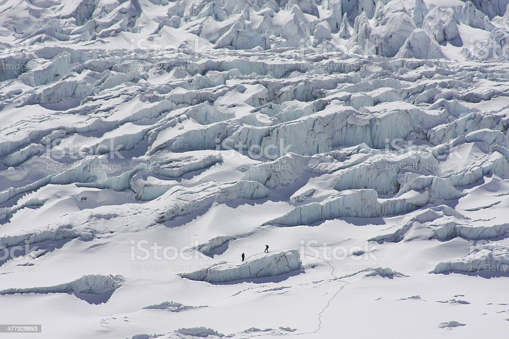 Adventurers on the Athabasca Glacier stock photo