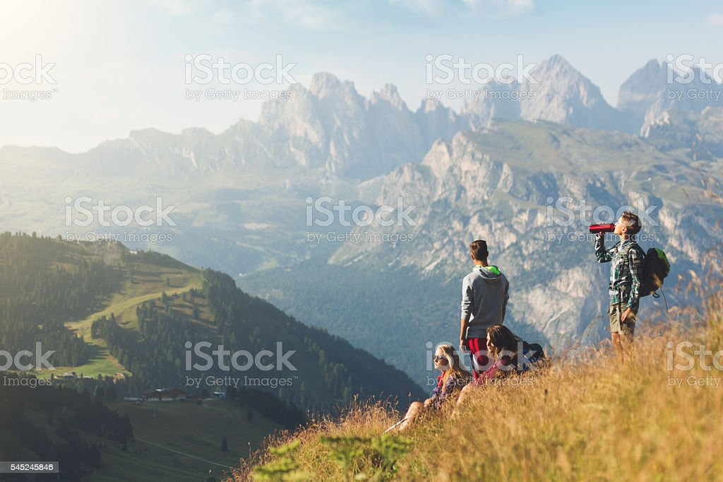 Adventures on the Dolomites: teenager friends together stock photo