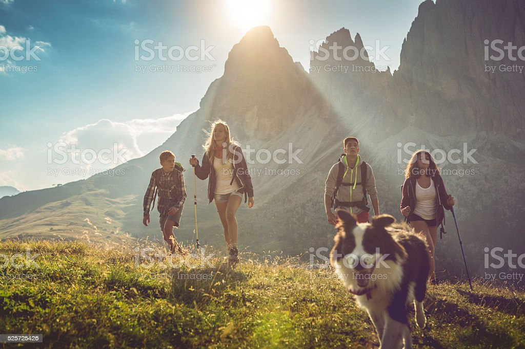 Adventures on the Dolomites with dog A group of teenage friends, together with a dog (border collie), adventures on the mountain, on the Italian Dolomites. Active Lifestyle Stock Photo