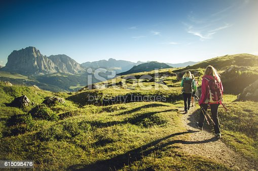 istock Adventures on the mountain: women together 615098476