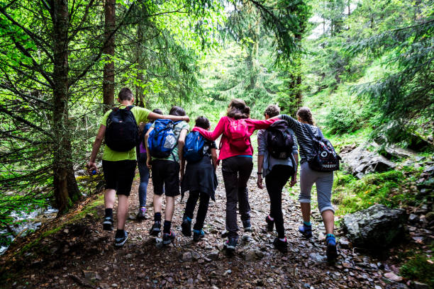Adventuring teenage friends arm in arm together while hiking in the mountains, Apuseni, Romania stock photo