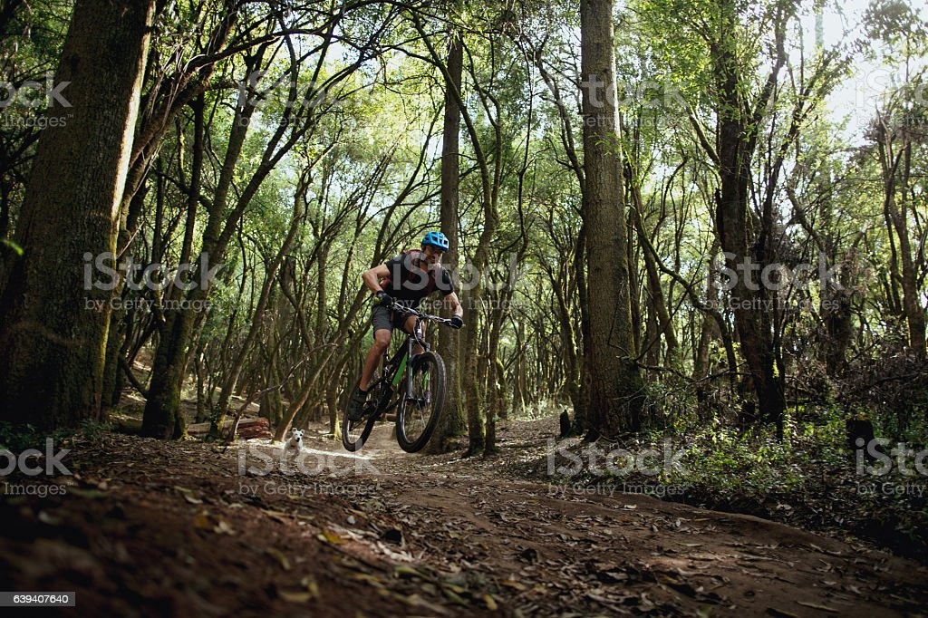 Adventurous latin man cycling in forest with dog - foto de stock