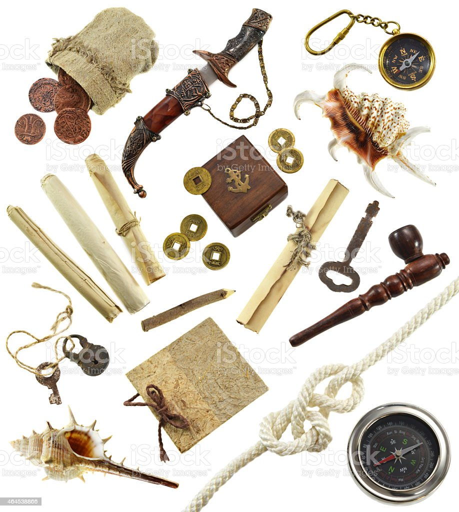 Adventurous set with pirate and detective objects stock photo