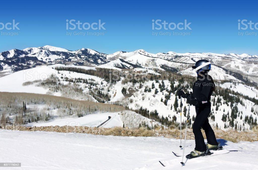 Adventurous skier stock photo