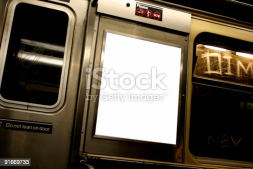 istock Advertise here billboard in white on subway 91669733