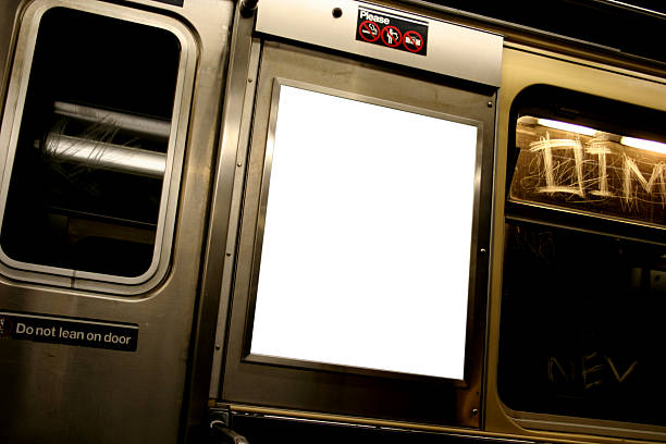 Advertise here billboard in white on subway Advertise in the subway of New York City subway stock pictures, royalty-free photos & images