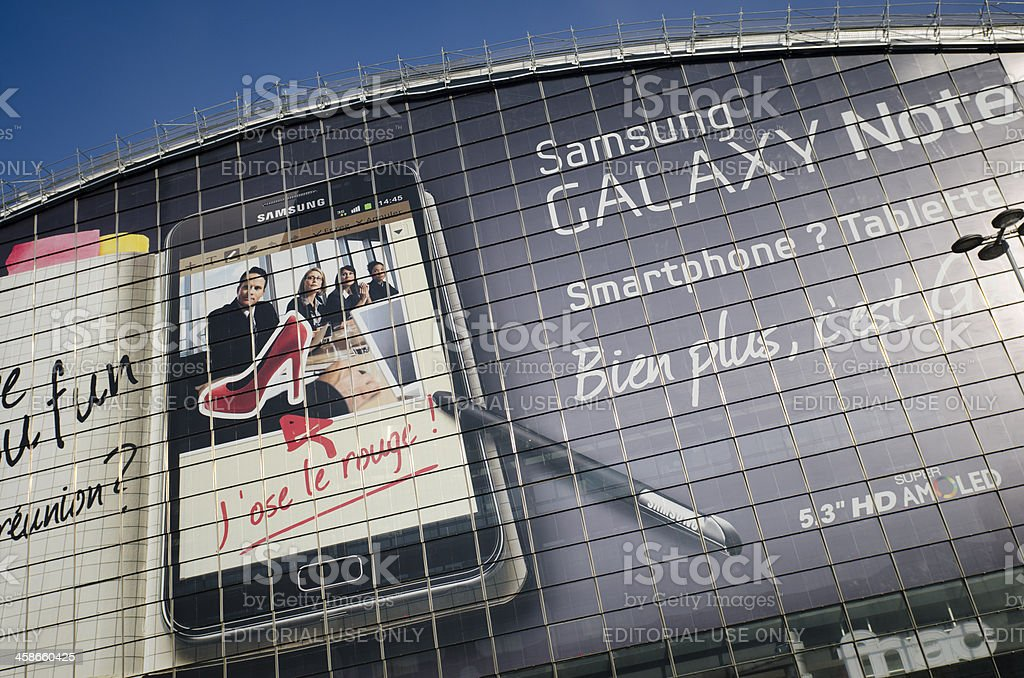 Advertise of new Samsung Galaxy Note on a building stock photo