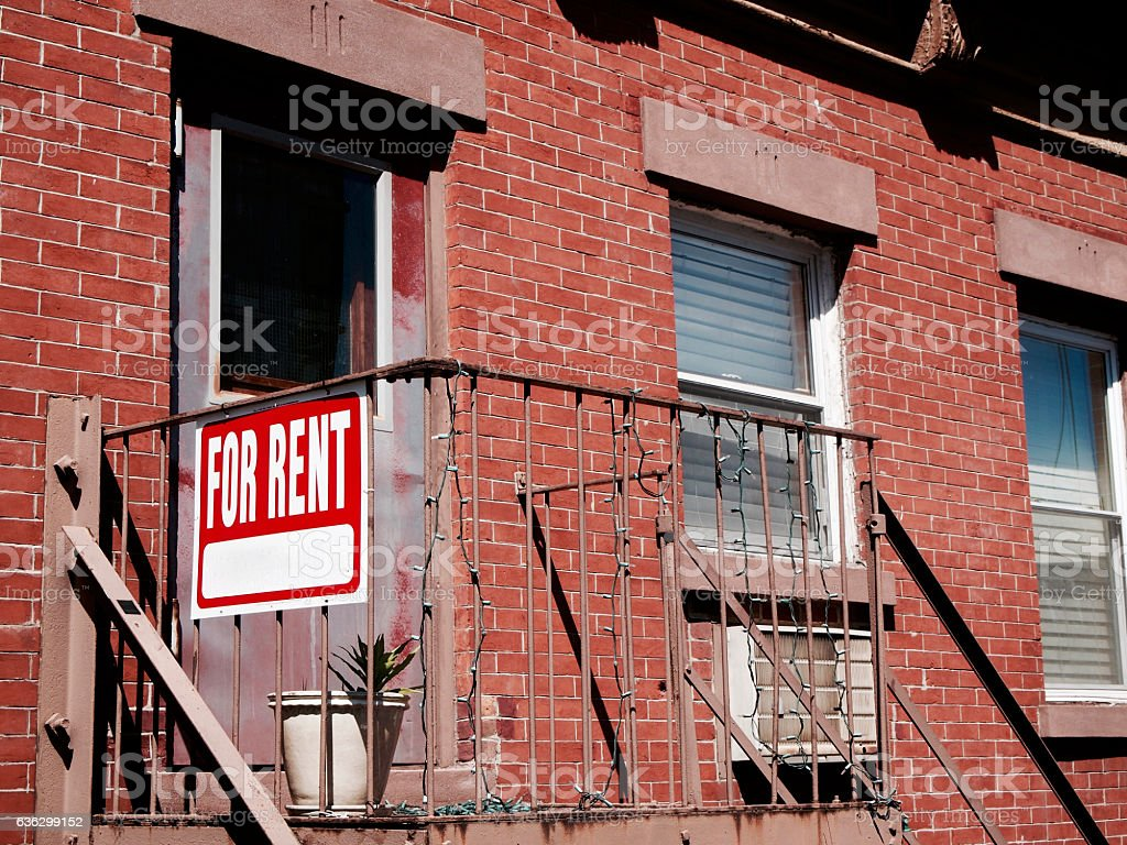 Advertisement for rent in apartment stock photo