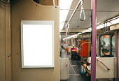 A blank advertisement panel inside a train