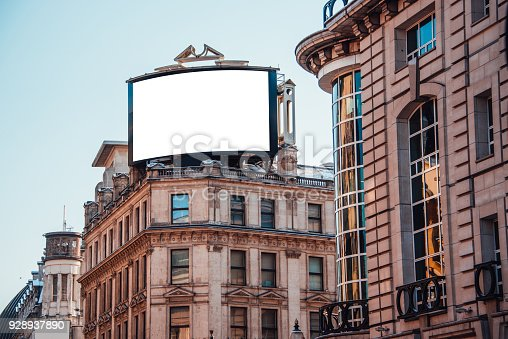 A blank advertisement panel on top of a building