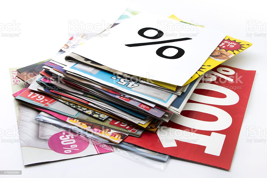 Advertisement Products paper Advertisement Products paper on white. 2015 Stock Photo